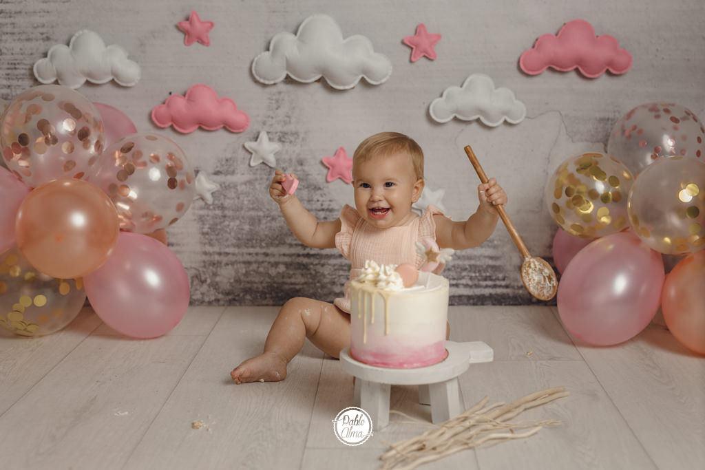 Foto de cumpleaños Smash Cake para niña