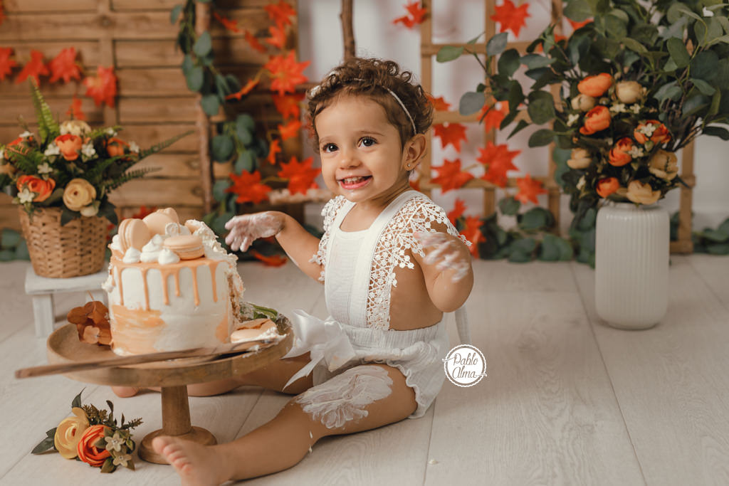 Smash Cake otoñal - Foto de cumple de Bebé