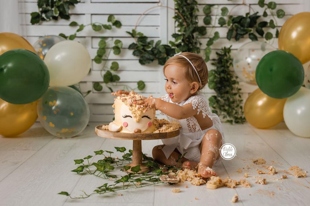 Foto de Smash Cake - Cumpleaños Niña Decoración y Tarta