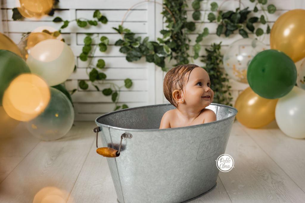 Celebración del primer cumple - Bañito de agua calentita