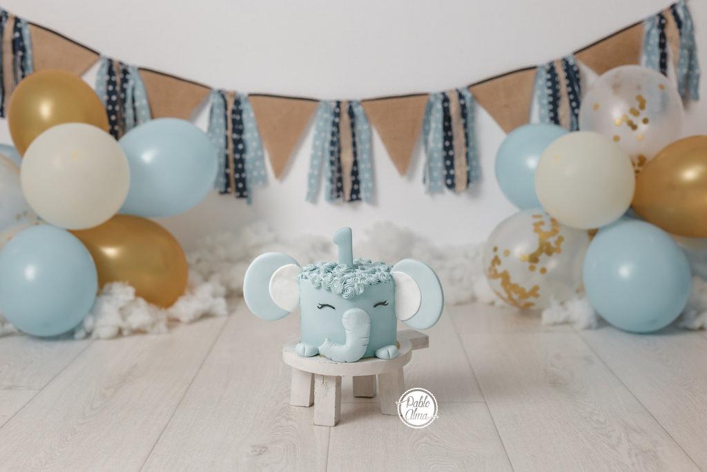 Tarta Elefante para Smash Cake - Fotos Primer Cumple 2
