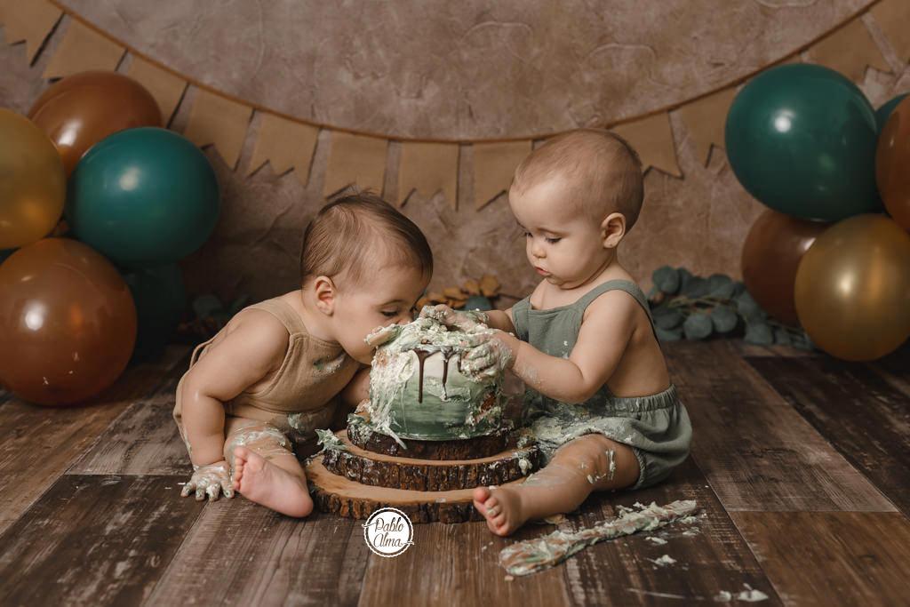 Mellizos / Gemelos - Fotos de cumpleaños Smash Cake