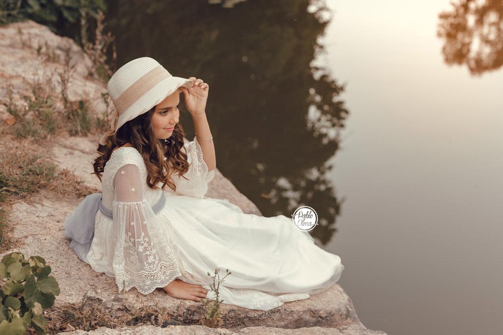 Foto de Comunión - Niña con sombrero
