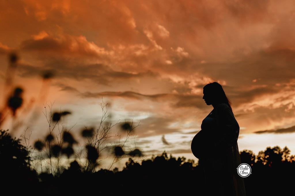 Silueta de Embarazada al atardecer